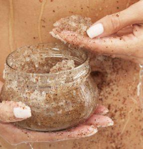 Salt body scrub in jar