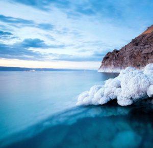 Sea salt next to ocean and seashore