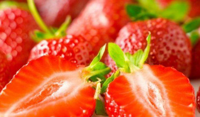 Bowl of freshly cut strawberries